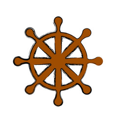 wooden rudder wheel vector image