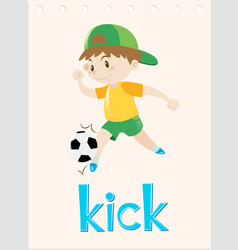 Word card with boy kicking ball vector