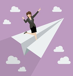 Business woman on paper rocket vector image vector image