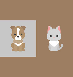 cat and dog icon flat design pet shop concept vector image vector image
