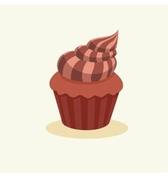 Chocolate muffin with cream vector image vector image