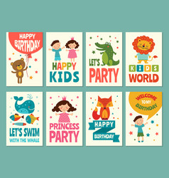design template of cards for childrens labels for vector image vector image
