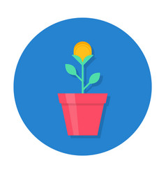 gold coin flower pot icon vector image