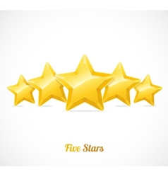 star rating with five gold stars concept vector image vector image