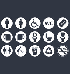 toilet icons set vector image vector image