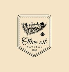 vintage olive oil logo retro emblem with vector image vector image