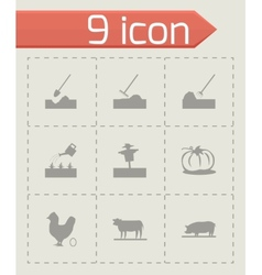 black farming icons set vector image