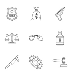 Crime icons set outline style vector image vector image