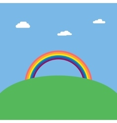 Landscape background with rainbow over green hill vector image
