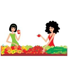 two women buy vegetables vector image vector image