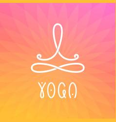 Yoga studio logo template with man in lotus pose vector