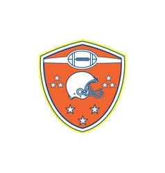 American Football Helmet Stars Shield Retro vector image