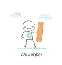 carpenter holding board vector image vector image