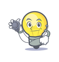 Doctor light bulb character cartoon vector