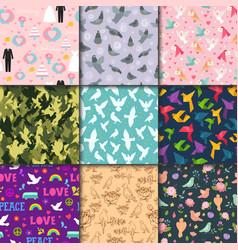 dove birds seamless pattern different style birdie vector image