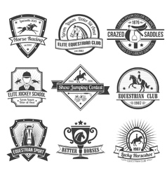 Equestrian Sport Emblems Set vector image