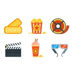 Flat icons set of professional film production vector image vector image