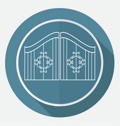 icon gate on white circle with a long shadow vector image vector image