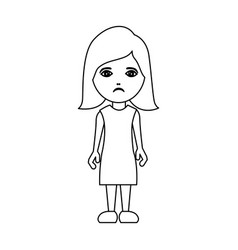 silhouette caricature sad woman with costume vector image vector image