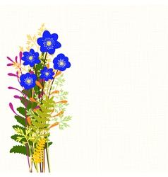 Springtime Blue Hepatica Nobilis and Wild Grass vector image vector image