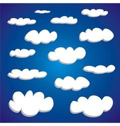 White hand drawn clouds set vector image vector image
