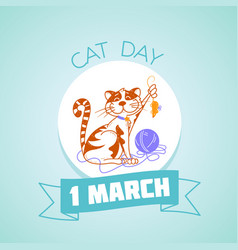 1 march cat day vector image