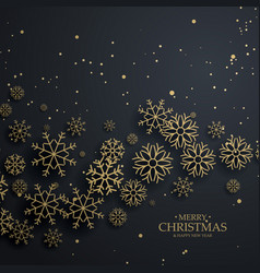 Awesome black background with gold snowflakes for vector