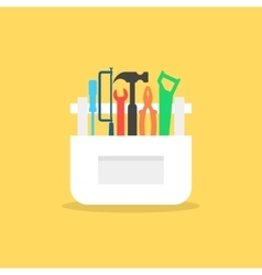 Colored tools in white box with shadow vector