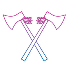 Crossed pair axe native american indian weapon vector