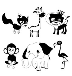 cute animals black version vector image vector image