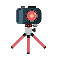 Digital flat photo camera on tripod technology vector image vector image