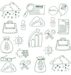Doodle of business finance elements vector image vector image