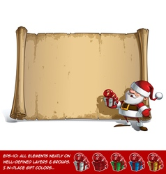 Happy Santa Scroll Holding a small Gift vector image vector image