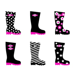 retro patterned wellington black rain boots vector image