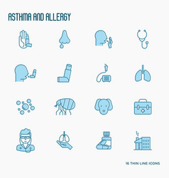 asthma and allergy thin line icons set vector image