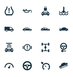 auto icons set with lorry oil pressure low vector image