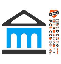 bank building icon with love bonus vector image