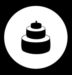 Birthday cake simple black isolated icon eps10 vector