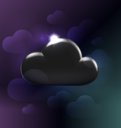 Black plastic glossy generic cloud vector image