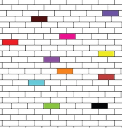 brick wall with color brick vector image