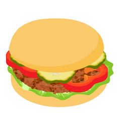 burger tomato icon isometric 3d style vector image