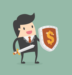 Businessman carrying a money shield and sword vector