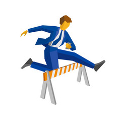 Businessman with smartphone jump over road barrier vector