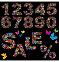 Butterfly numerals vector