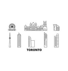 Canada toronto line travel skyline set canada vector