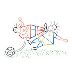Cartoon aggressive soccer player man flying kick vector