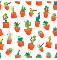 cartoon funny cactus characters seamless pattern vector image