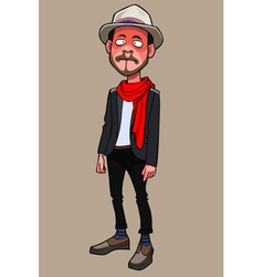 Cartoon is a funny guy hipster in hat and scarf vector