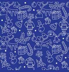 Christmas blue background hand drawn white vector