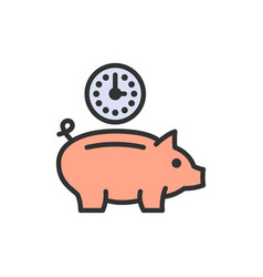 clock with piggy bank investment debt save time vector image